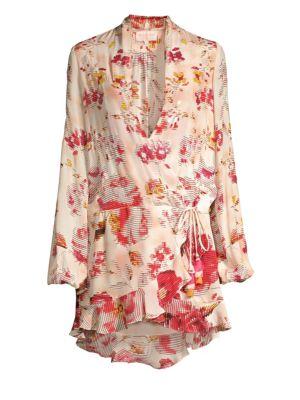 ROCOCO SAND Plunging Silk Wrap Dress in Multicolor