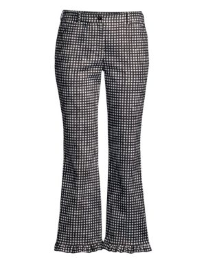 Ruffled Gingham Cotton-Poplin Straight-Leg Pants in Black