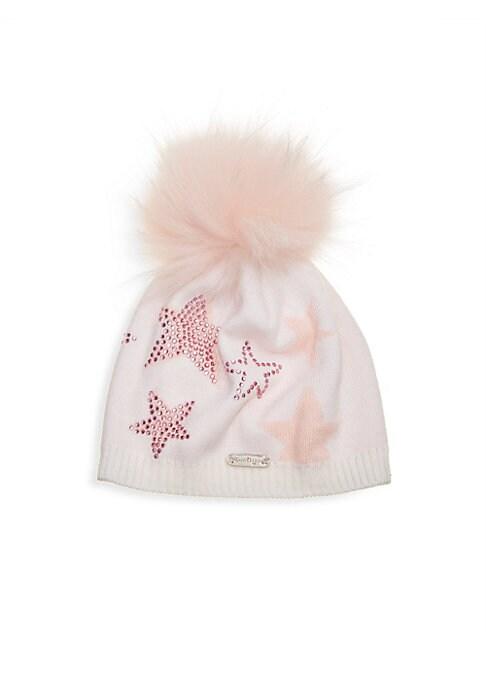Girls Ivory  Pink Star Hat With Fur Pom Pom