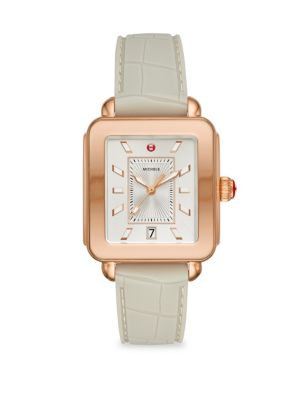 MICHELE WATCHES Deco Sport Rose Gold-Tone Stainless Steel & Silicone Strap Watch in Beige