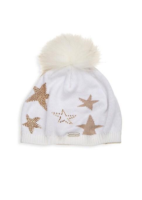 Girls Star Hat with Fox Fur Pompom