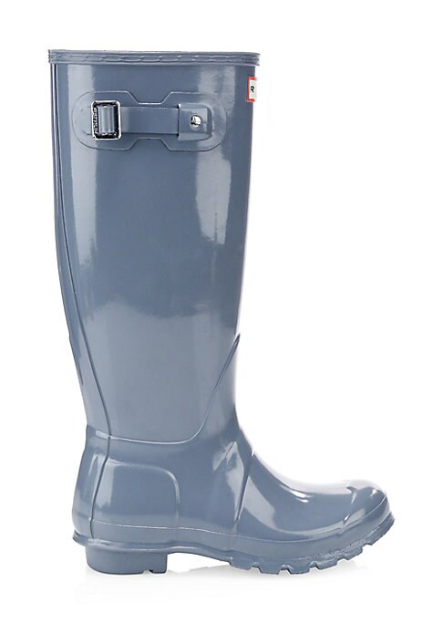 """Image of Classic tall rainboots finished with a glossy sheen. Rubber upper. Round toe. Slip-on style. Adjustable back buckled clasp. Textile lining. Treaded rubber sole. Imported. SIZE. Stacked rubber heel, 1"""" (25mm).Shaft height, 16""""."""