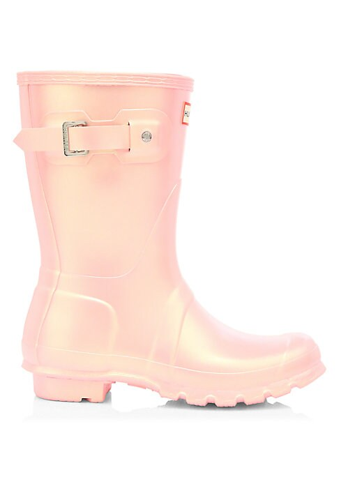 """Image of Rubber mid-calf rain boots with a gradient metallic sheen. Rubber upper. Round toe. Slip-on style. Adjustable back buckled clasp. Textile lining. Treaded rubber sole. Imported. SIZE. Stacked heel, 1.25"""" (32mm).Shaft height, 14.5""""."""