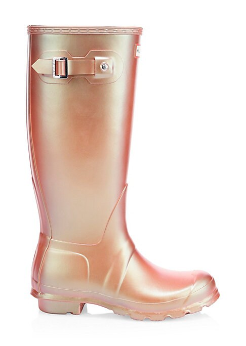 "Image of Tall rubber boots finished with a metallic sheen. Rubber upper. Round toe. Slip-on style. Adjustable back buckled clasp. Textile lining. Treaded rubber sole. Imported. SIZE. Stacked rubber heel, 1"" (25mm).Shaft height, 16""."