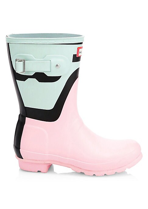 """Image of Sleek mid-calf rain boots with a cool bi-color design. Rubber upper. Round toe. Slip-on style. Adjustable back buckled clasp. Textile lining. Treaded rubber sole. Imported. SIZE. Stacked heel, 1.25"""" (32mm).Shaft height, 14.5""""."""