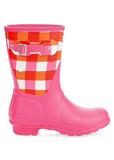 """Image of Rubber mid-calf rain boots with a playful gingham print. Rubber upper. Round toe. Slip-on style. Adjustable side buckled clasp. Textile lining. Treaded rubber sole. Imported. SIZE. Stacked heel, 1.25"""" (32mm).Shaft height, 14.5""""."""