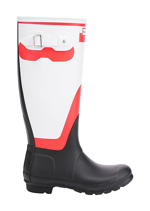 """Image of Sleek tall rubber rain boots with a cool bi-color design. Rubber upper. Round toe. Slip-on style. Adjustable back buckled clasp. Textile lining. Treaded rubber sole. Imported. SIZE. Stacked heel, 1"""" (25mm).Shaft height, 16""""."""