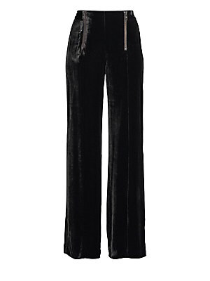 "Image of A wide-leg pant silhouette updated in luxurious velvet with exposed zip detailing. Banded waist Dual front zip closures Lined Rayon/silk Dry clean Made in USA SIZE & FIT Rise, about 13"" Inseam, about 36"" Leg opening, about 27"" Model shown is 5'10"" (177cm)"