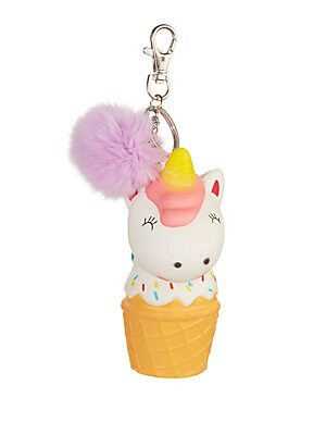 Image of Adorable unicorn ice cream key chain accented with a plush fur pom-pom. Silvertone hardware Metal/plastic Fur type: Dyed rabbit Fur origin: China Dry clean by fur specialist Made in USA. Children's Wear - Infant Toys And Gifts > Saks Fifth Avenue. Bari Ly