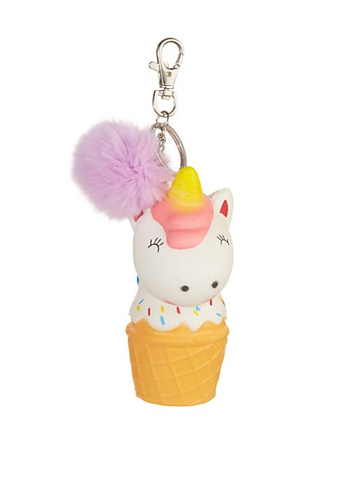 Unicorn Ice Cream Fox Fur Key Chain