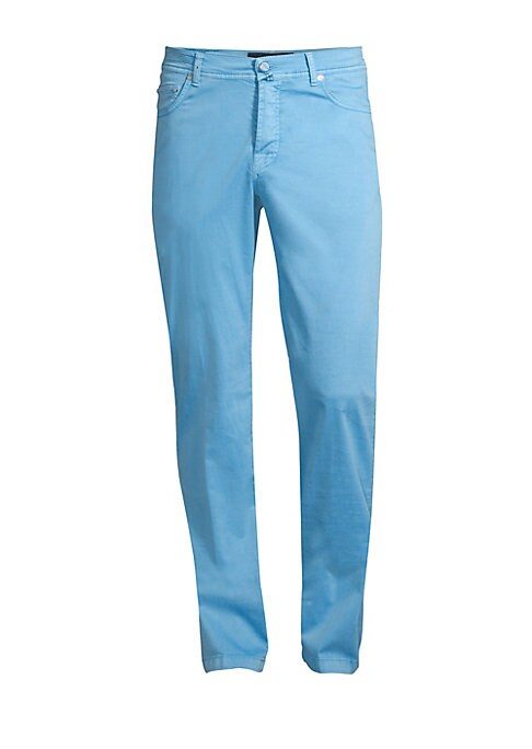 "Image of Versatile stretchy pants are crafted in a fluid silhouette. Belt loops. Five-pocket style. Zip fly with button closure. Cotton/silk/elastane. Hand wash. Made in Italy. SIZE & FIT. Rise, about 11"".Inseam, about 34"".Leg opening, about 15""."