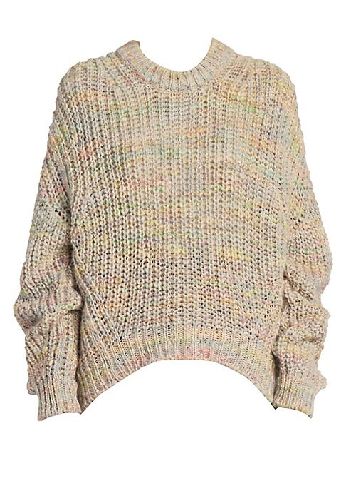 Image of A muted rainbow palette lends a dreamy quality to this rib-knit pullover. Roomy sleeves ensure the silhouette feels very now. Crewneck. Long sleeves. Ribbed cuffs and hems. Pullover style. Dropped shoulders. Curved hems. Acrylic/wool. Dry clean. Made in I