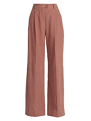 Image of A crinkled texture and soft pleats adds depth to these high-waist trousers. Crafted of a luxe stretch cotton, the fluid wide-leg silhouette is relaxed yet elegant. Banded waist Belt loops Zip fly with button tab closure Waist slash pockets Back button wel