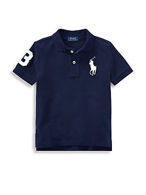 Image of This wear-with-anything Polo shirt is finished with a twill patch, just like the version worn by a polo team's strongest player. Polo collar Short sleeves Ribbed cuffs Two-button placket Vented hem Cotton Machine wash Imported. Children's Wear - Ralph Lau