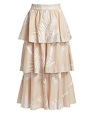 Image of From the Saks It List: Garden Party Florals Colombian designer Johanna Ortiz is all about making romantic fashion statements with her garments. This skirt exemplifies her vision, with its tiered skirt flaunting embroidered palm fronds for a flirty silhoue