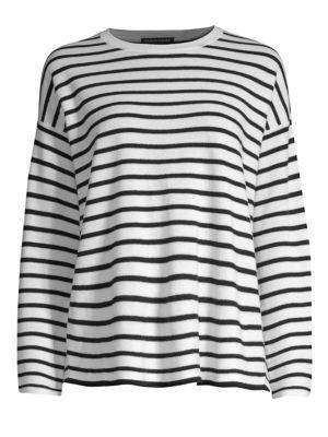 Merino Wool Striped Sweater, Regular & Petite in Soft White/Black