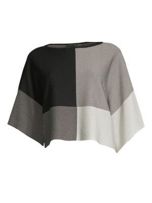 Tencel Bateau-Neck Colorblocked Sweater, Regular & Petite in Black/Soft White