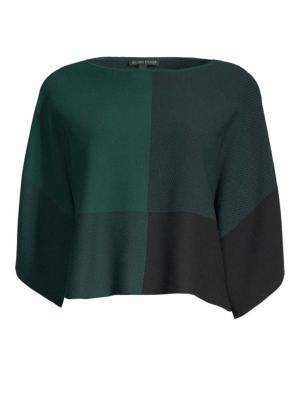 Tencel Bateau-Neck Colorblocked Sweater, Regular & Petite in Pine