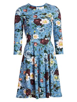 Erdem Dione Fit-&-Flare Floral Dress
