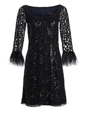 JOANNA MASTROIANNI Feathered A-Line Cocktail Dress in Black