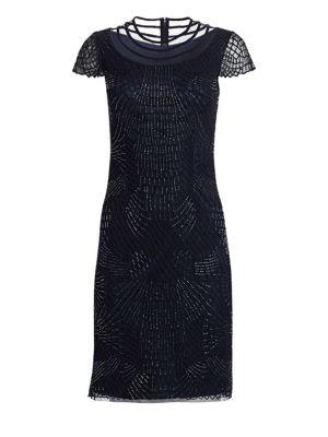 JOANNA MASTROIANNI Short Sleeve Ilusion Cocktail Dress in Navy