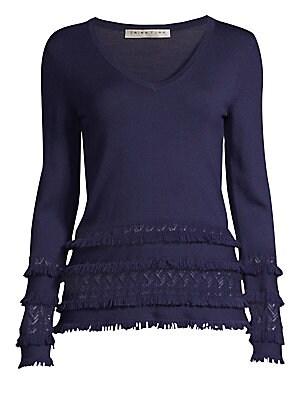 a2e682a8a6eb Trina Turk - Cocktail Soiree Sass Fringe Merino Sweater