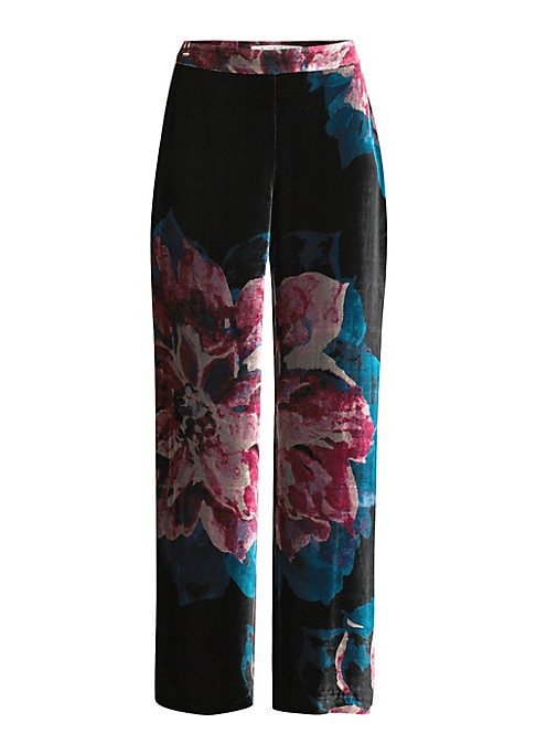 """Image of From Casa Mexico Collection. Wide-leg pants with allover floral print. Side zip closure. Zip fly. Viscose/silk. Dry clean. Imported. SIZE & FIT. Straight fit. Inseam, about 30"""".Model shown is 5'10"""" (177cm) wearing US size 4."""