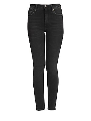 """Image of A gently curving waistband on these stretch cotton skinnies enhances the female figure. Belt loops Zip fly with button closure Five-pocket style Cotton/polyester/elastane Dry clean Made in Italy SIZE & FIT Rise, about 11"""" Inseam, about 29"""" Model shown is"""