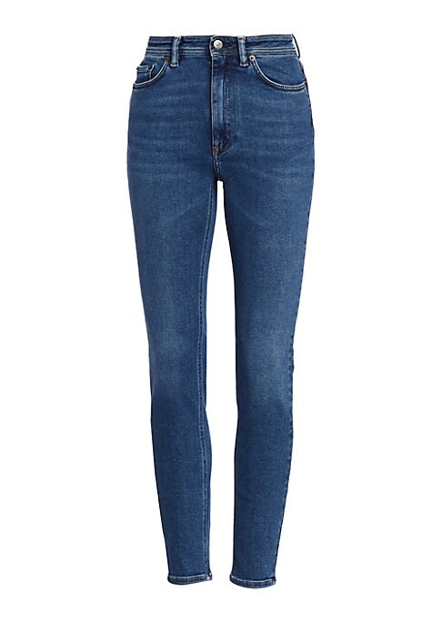 Image of An all-season favorite, these skinny-fit jeans are cut from soft cotton-blend and finished in a mid-blue wash. High-waisted design offers a comfortable fit that's right on-trend and fashionable for day or night. Five-pocket style. Zip fly with button clos