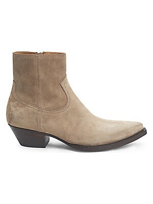 Image of Classic western stitching and heel with side zip. Suede upper Point toe Side zip Leather sole Padded insole Made in Italy. Men's Shoes - Designer Shoes. Saint Laurent. Color: Nude. Size: 39 (6).