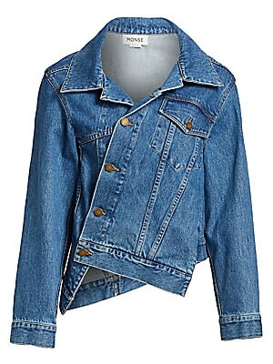 Image of From the Saks It List: Luxe Denim Monse's classic-with-a-twist jacket features a playful silhouette in an asymmetric cut. Fashioned in soft, easy-care cotton, this open-front jacket gives you the perfect toss-on-and-go look. Spread collar Long sleeves Ope