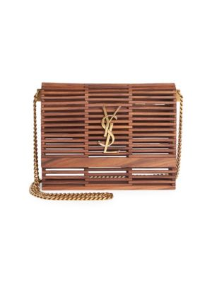 Wooden Cage Kate Bag in Brown