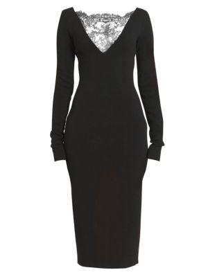 Lace Yoke Evening Sheath Dress