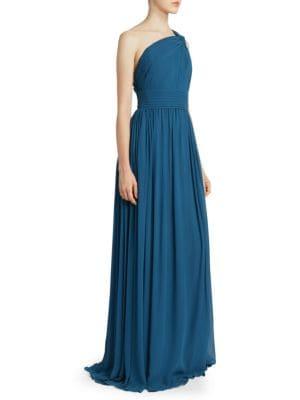 Elie Saab One-Shoulder Silk Chiffon Gown