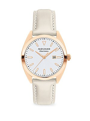 Heritage Datron Rose Goldplated Stainless Steel & Leather Strap Watch by Movado
