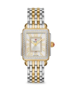 MICHELE WATCHES Deco Madison Mid Two-Tone 148 Diamond Bracelet Watch in Silver Gold