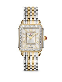 bfaf99fae Product image. QUICK VIEW. Michele Watches. Deco Madison Mid Two-Tone 148  Diamond Bracelet Watch