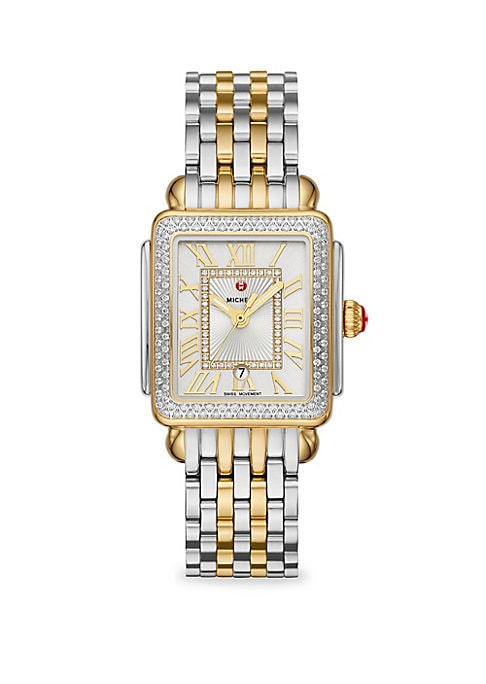 Image of From the Deco Madison Mid Collection. This two-tone Deco Madison Mid shines with 148 hand-set diamonds on the bezel and atop the silver white sunray dial. Swiss quartz movement. Red cabochon crown. Diamond set bezel, 0.60 tcw. Sapphire crystal. Silver whi