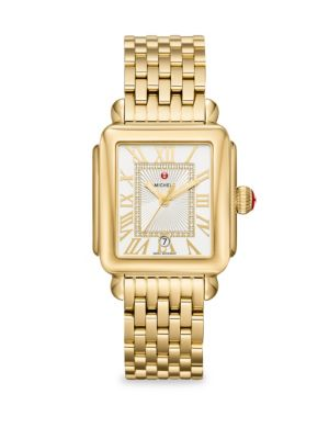 MICHELE WATCHES Deco Madison 18K Gold Diamond Dial Bracelet Watch