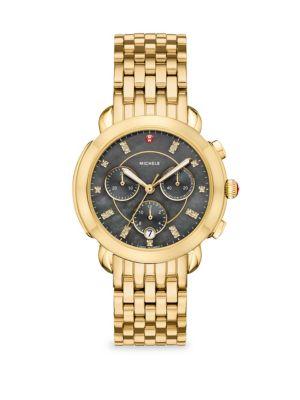 Michele Watches Sidney 18k Gold Diamond Dial Bracelet Watch