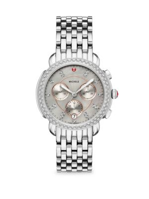 MICHELE WATCHES Sidney Stainless-Steel Diamond Dial Bracelet Watch in Silver