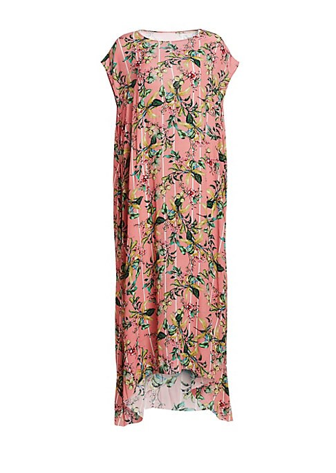 Image of Playing with silhouette and proportion is a guiding principle of the Vetements brand, which is perfectly exemplified in this oversized draped dress. Adorned with a sprawling floral motif, this maxi has a voluminous A-line cut and an unfinished raw-edge he