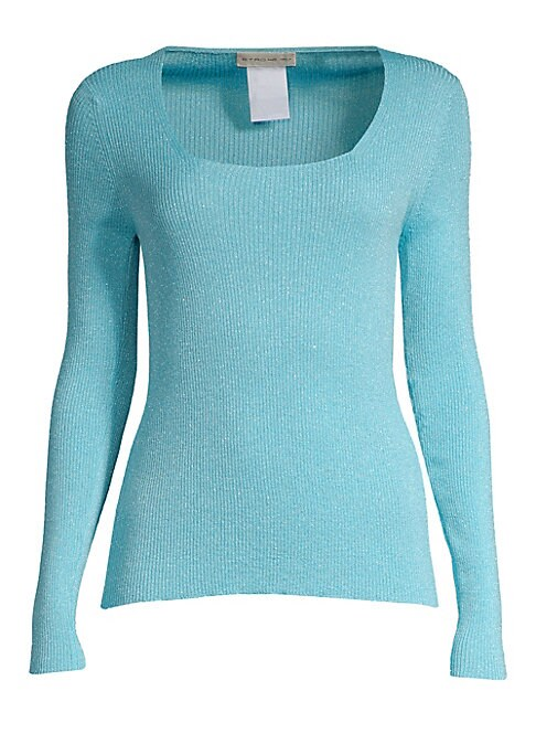 Image of The essential sweater for the season in a ribbed wool-blend with shimmering lurex threads and a flattering sculptured scoopneck. The fine knit and slim fit make it perfect for layering under jackets or tucking into pants and skirts. Scoopneck. Long sleeve
