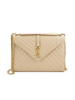 cb9eff4c56a Saint Laurent. Large Monogram Matelassé Leather Envelope Shoulder Bag