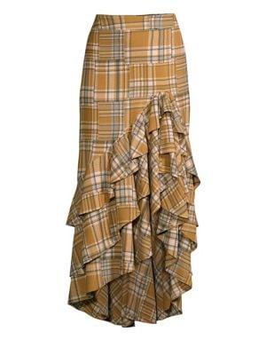 PATBO Plaid Ruffled Midi Skirt in Neutral,Plaid