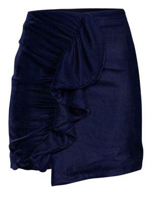 Patbo Velvet Ruffled Mini Skirt