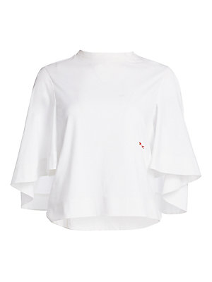 Image of A modern take on the classic white tee, this cape-sleeved iteration is a modern wardrobe staple. Its structured silhouette contrasts flowy cape sleeves and a contrasting embroidered logo emblem. Roundneck Elbow-length cape sleeves Pullover style Chest emb