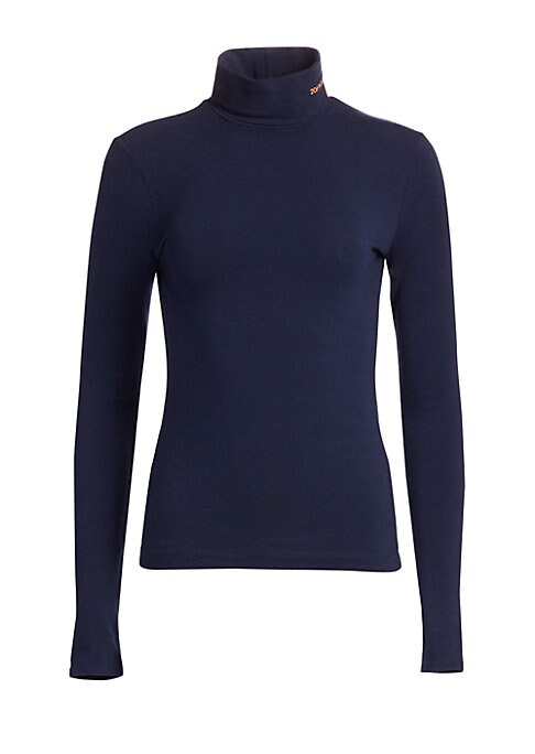 Image of This timeless turtleneck is finished in soft stretch cotton and with an embroidered logo neck detail. Its slim fit is ideal for pairing with jeans or high-rise skirts for a must-have fall look. Turtleneck. Long sleeves. Pullover style. Embroidered neck de