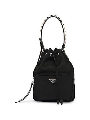 2fe9d4600047 ... shop prada nylon bucket bag with studding 8b90a 1fff2