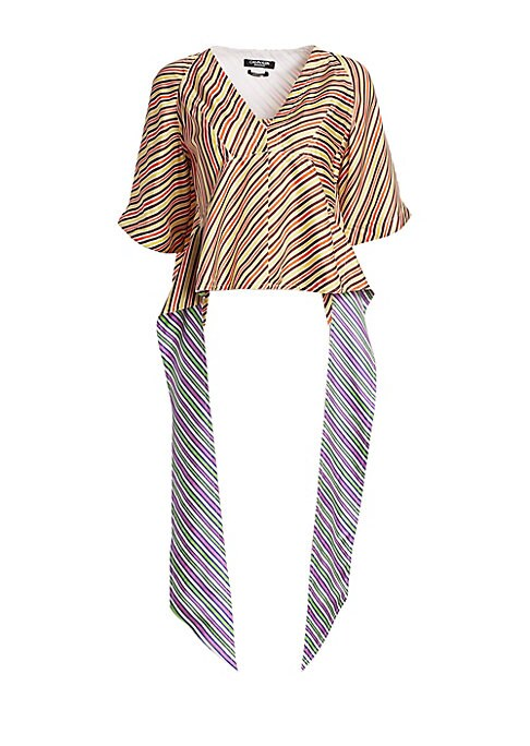 Image of From the Saks It List: Bold Stripes.A unique silhouette takes this striped silk blouse from merely chic to avant-garde. Scarf-like ties fall from the waist, boasting contrast stripes on the reverse side and adding to the playful aura of the piece. Surplic
